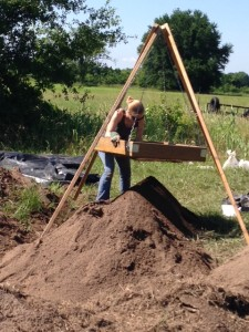 Sifting for artifacts at Spiro Mounds