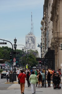 Evita's image displayed on a building in Buenos Aires.